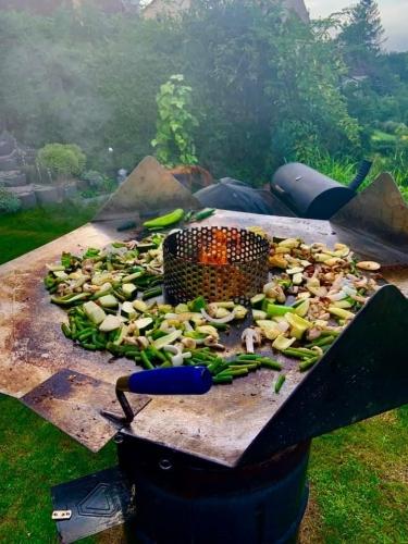Grilltonne mit Grilllgemüse (Champignon, Paprika, Bohne, Zucchini, Zwiebel)