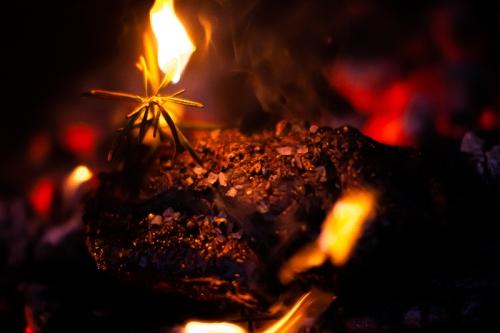 Steak in glühender Kohle mit brennendem Rosmarin, Salz und Pfeffer